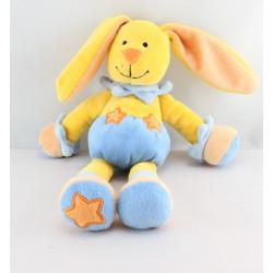Doudou lapin jaune bleu étoile  BABY LUNA