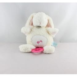 Doudou musical lapin Calins blanc rose BABY NAT