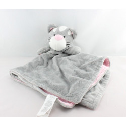Doudou plat chat gris rose EARLY DAYS
