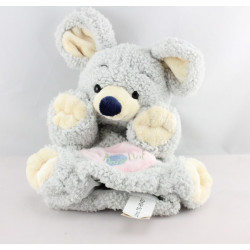 Doudou plat marionnette Souris grise poche rose BABY NAT