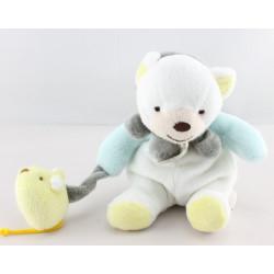 Mini Doudou chat bleu blanc jaune souris BABY NAT