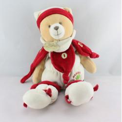 Doudou ours Nanou rouge blanc DOUDOU ET COMPAGNIE