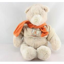 Doudou ours beige écharpe orange LINVOSGES MOULIN ROTY
