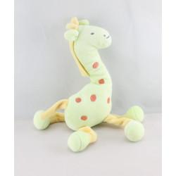 Doudou girafe verte jaune SUCRE D'ORGE