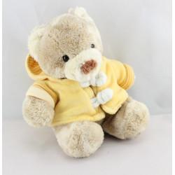 Doudou ours beige sweat capuche jaune orange NICOTOY