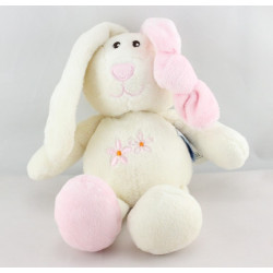 Doudou lapin rose blanc GIPSY 20 cm