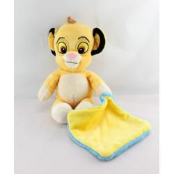Doudou le roi lion Simba mouchoir  jaune bleu DISNEY