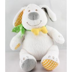 Doudou musical chien blanc gris vert jaune BENGY
