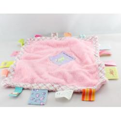Doudou plat carré rose étiquette chat LABEL