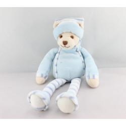 Doudou ours bleu rayé BUKOWSKI