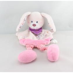 Doudou plat lapin rose fleurs oiseau foulard TEX BABY NEUF