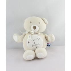 Doudou ours beige blanc joie et bonheur SUCRE D'ORGE