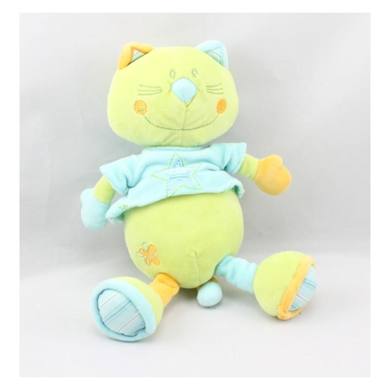 Doudou chat vert bleu orange SAUTHON