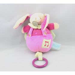 Doudou musical lapin rose vert cape BABY NAT