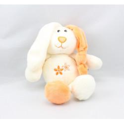 Doudou lapin blanc orange fleurs GIPSY