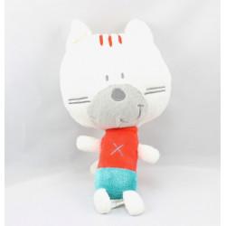 Doudou chat blanc rouge bleu ORCHESTRA