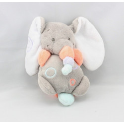 Doudou éléphant girs orange bleu mauve Bubbles NATTOU