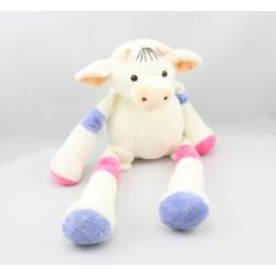 Doudou Vache blanche violet rose Nounours