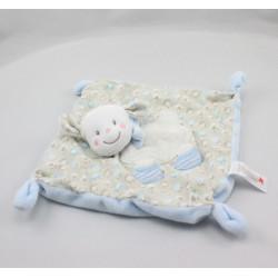 Doudou plat mouton blanc beige bleu laine NICOTOY