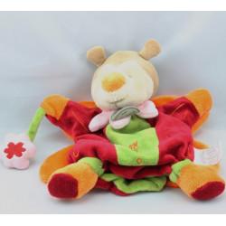 Doudou et compagnie marionnette papillon rouge vert orange Miloo