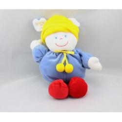 Doudou lapin bleu rouge bonnet jaune GIPSY
