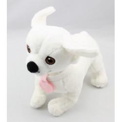 Doudou chien blanc médaille rose DISNEY