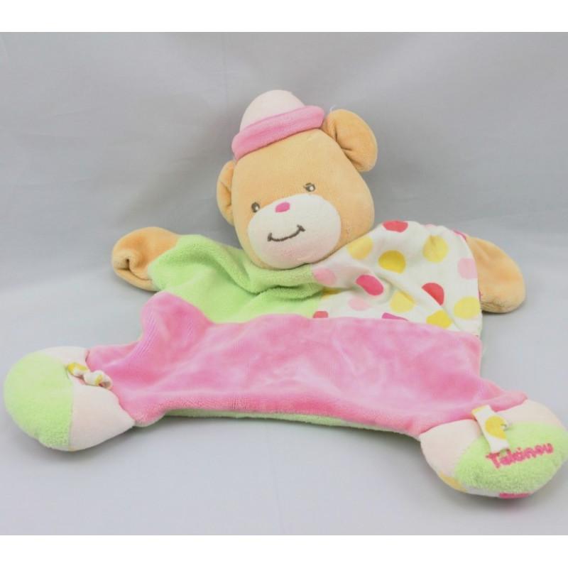 Doudou Plat rose ours clown avec chapeau Takinou