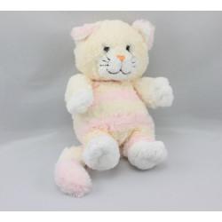 Doudou chat blanc tigré rose GIPSY