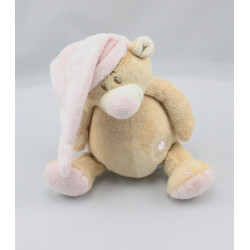Doudou musical ours beige Tom bonnet rose coeur DOUKIDOU