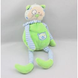Doudou chat rayé bleu vert CP INTERNATIONAL