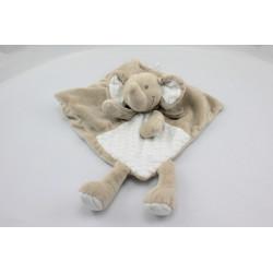 Doudou plat éléphant beige blanc rayé NICOTOY