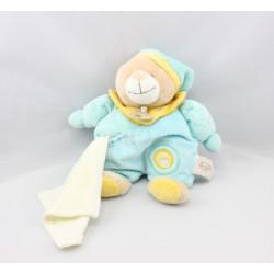 Doudou ours bleu ciel jaune mouchoir BABY NAT
