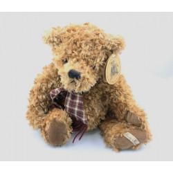 Peluche ours marron écharpe à carreaux LOUISE MANSEN