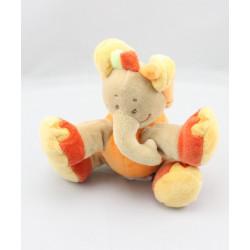 Doudou éléphant beige orange rouge DOUKIDOU