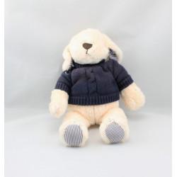 Doudou peluche ours blanc pull bleu marine JACADI