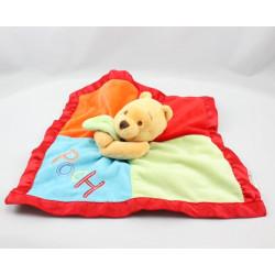 Doudou plat couverture satin Winnie l'ourson rouge vert bleu orange Disney