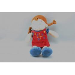 Doudou poupée fille rouge bleu MOTS D'ENFANTS