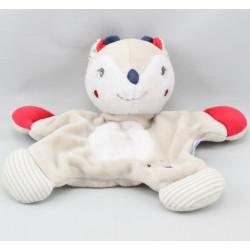 Doudou plat renne beige blanc rouge lune SUCRE D'ORGE
