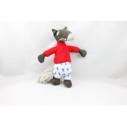 Doudou loup marron gris pyjama pull rouge AUZOU