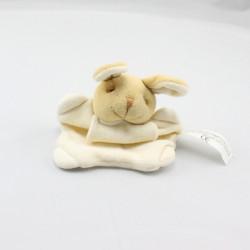 Mini Doudou plat lapin beige écru FOIR'FOUILLE
