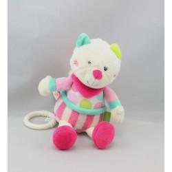 Doudou musical chat blanc rose bleu vert rayé pois BABYSUN