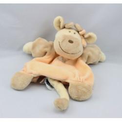 Doudou plat marionnette girafe Capucine beige orange NOUKIE'S