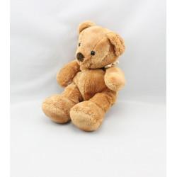 Doudou ours beige foular carreaux jaune NICOTOY