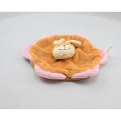 Doudou plat fleur lapin beige rose BIESSE BABY