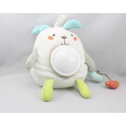 Doudou veilleuse lapin blanc vert bleu gris POMMETTE