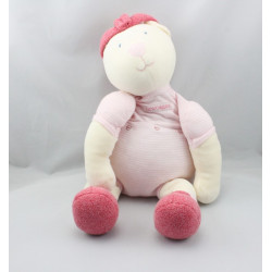Doudou ours blanc rose rayé LINVOSGES LES 3 OURS