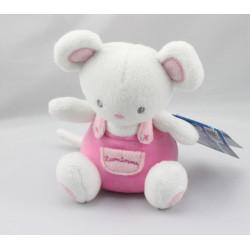 Doudou souris blanche salopette rose LUMINOU