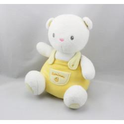 Doudou ours blanc salopette jaune LUMINOU 18 cm