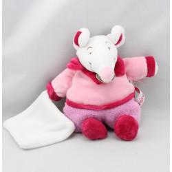 Doudou et compagnie hochet souris rose mouchoir Graines de doudou