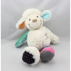 Doudou mouton blanc bleu rose violet vert pois vichy NICOTOY